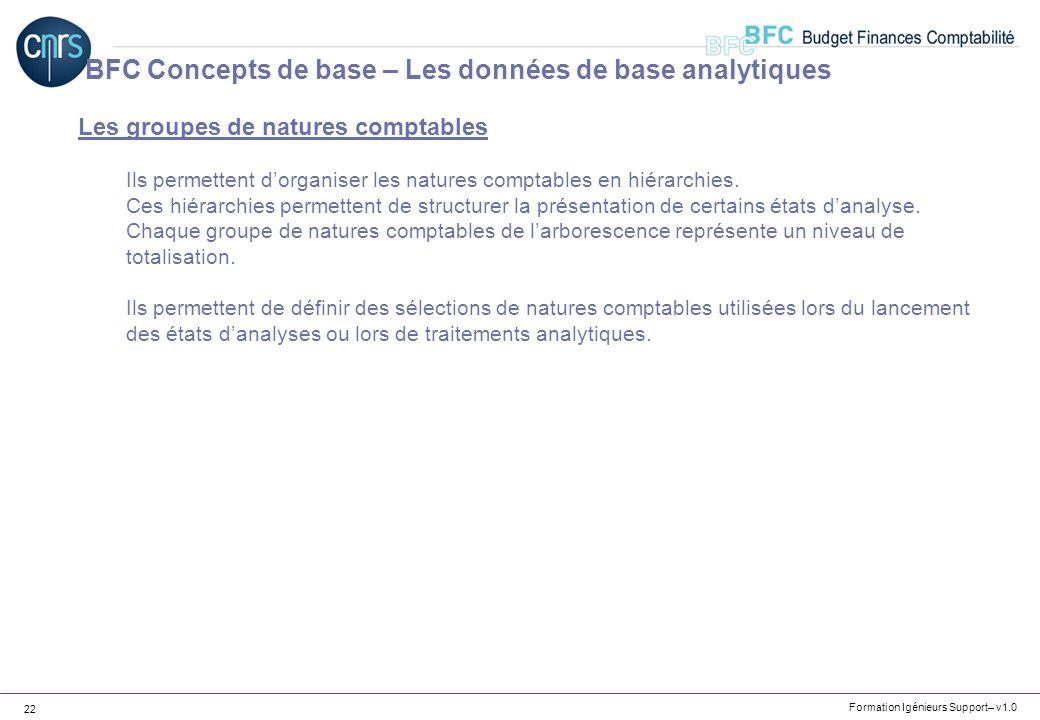 Formation Igénieurs Support– v1.0 22 Les groupes de natures comptables Ils permettent dorganiser les natures comptables en hiérarchies. Ces hiérarchie