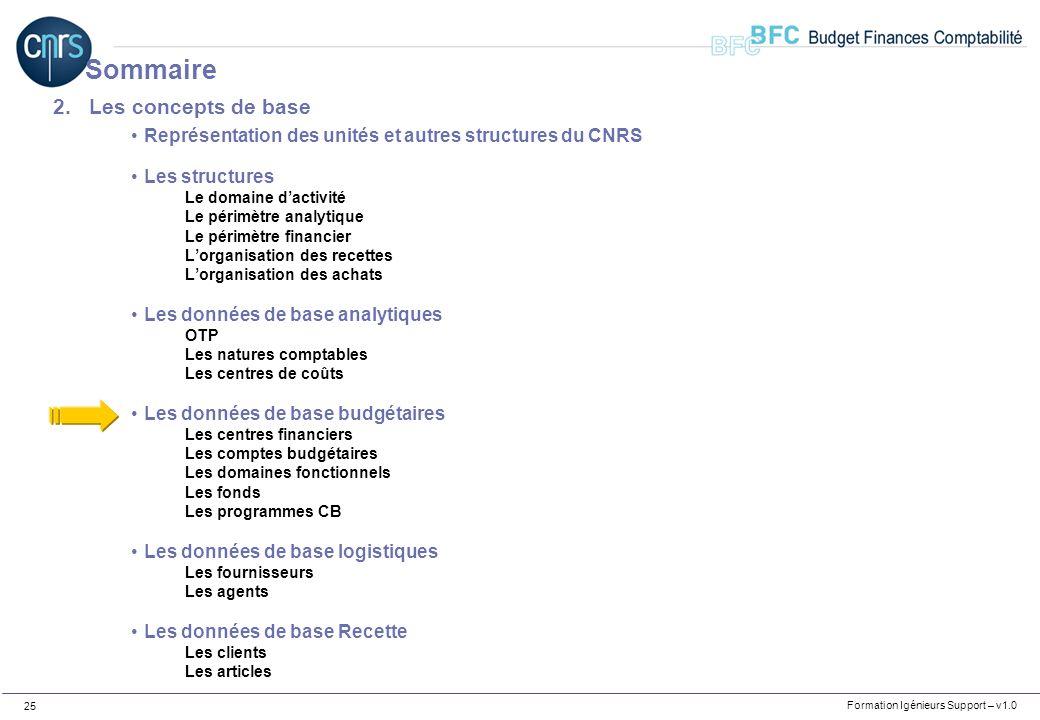 Formation Igénieurs Support – v1.0 25 2.Les concepts de base Représentation des unités et autres structures du CNRS Les structures Le domaine dactivit