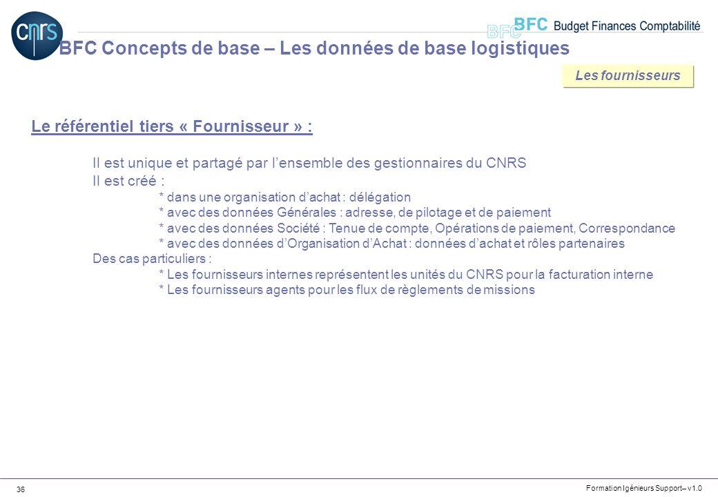 Formation Igénieurs Support– v1.0 36 BFC Concepts de base – Les données de base logistiques Le référentiel tiers « Fournisseur » : Il est unique et pa
