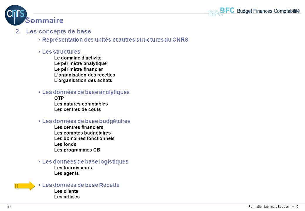 Formation Igénieurs Support – v1.0 39 2.Les concepts de base Représentation des unités et autres structures du CNRS Les structures Le domaine dactivit