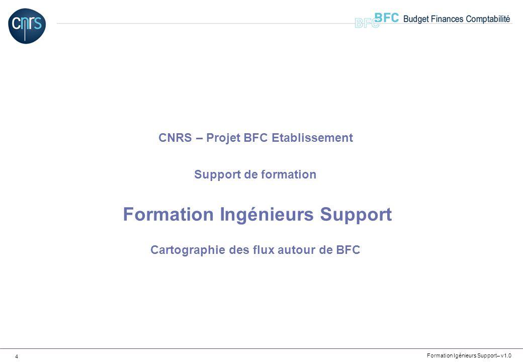 Formation Igénieurs Support – v1.0 5 APPLICATIONS CNRS BFC Cartographie des flux – Les référentiels BFC MINEFI PARTENAIRE XLAB SIRHUS Banque de France Flux entrants NOUBA Flux sortants F45, F50, F74, F74bis F21, F22 F97, F98 F7, F7bis F13 F15bis, F20 F15 F70