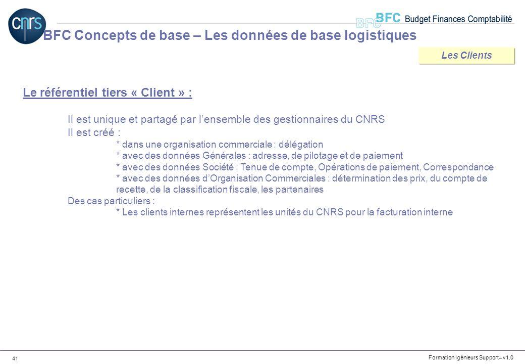 Formation Igénieurs Support– v1.0 41 BFC Concepts de base – Les données de base logistiques Le référentiel tiers « Client » : Il est unique et partagé