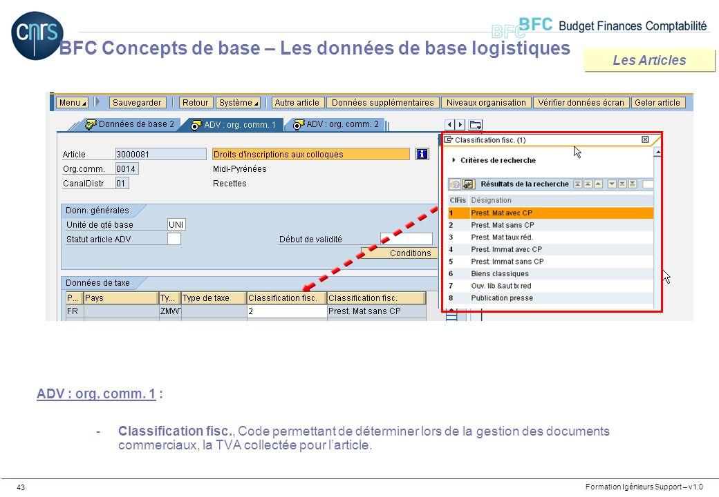 Formation Igénieurs Support – v1.0 43 ADV : org. comm. 1 : -Classification fisc., Code permettant de déterminer lors de la gestion des documents comme