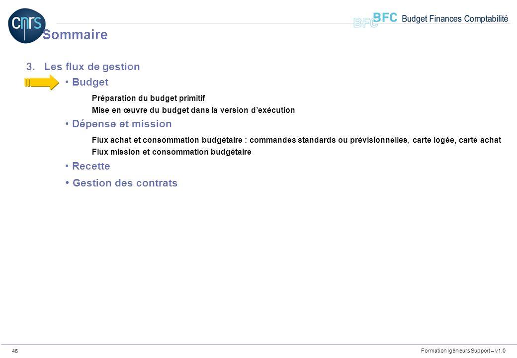 Formation Igénieurs Support – v1.0 45 3.Les flux de gestion Budget Préparation du budget primitif Mise en œuvre du budget dans la version dexécution D