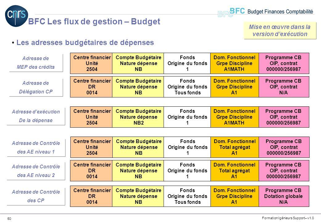 Formation Igénieurs Support– v1.0 50 Les adresses budgétaires de dépenses BFC Les flux de gestion – Budget Centre financier Unité 2504 Compte Budgétai