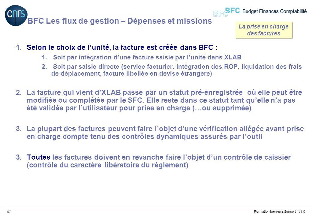 Formation Igénieurs Support – v1.0 57 1.Selon le choix de lunité, la facture est créée dans BFC : 1. Soit par intégration dune facture saisie par luni