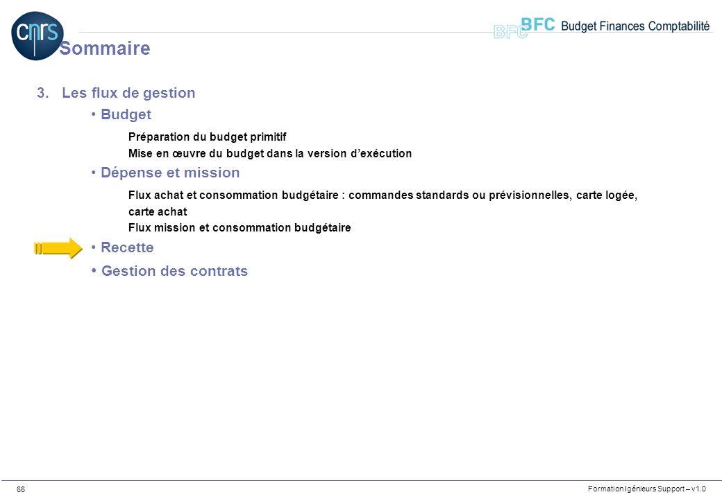 Formation Igénieurs Support – v1.0 66 3.Les flux de gestion Budget Préparation du budget primitif Mise en œuvre du budget dans la version dexécution D