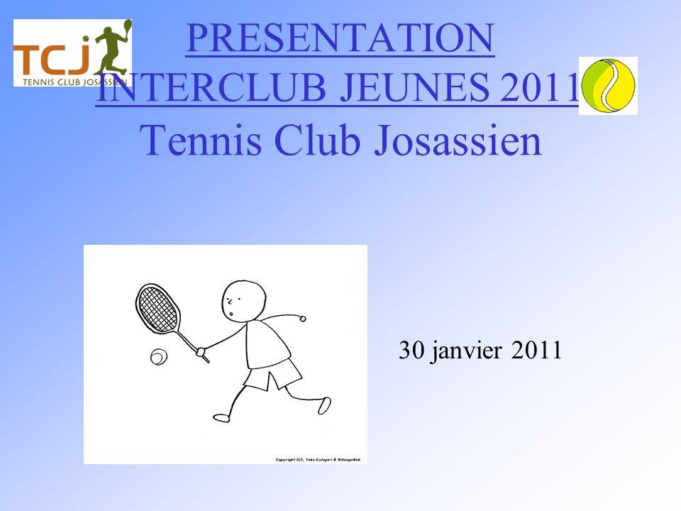 PRESENTATION INTERCLUB JEUNES 2011 Tennis Club Josassien 30 janvier 2011