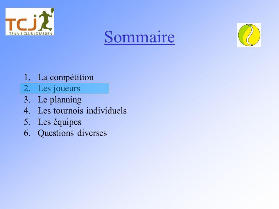 Sommaire 1.La compétition 2.Les joueurs 3.Le planning 4.Les tournois individuels 5.Les équipes 6.Questions diverses
