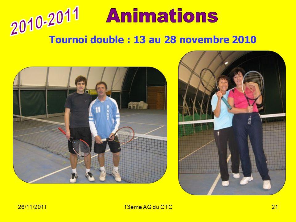 26/11/201113ème AG du CTC21 Tournoi double : 13 au 28 novembre 2010