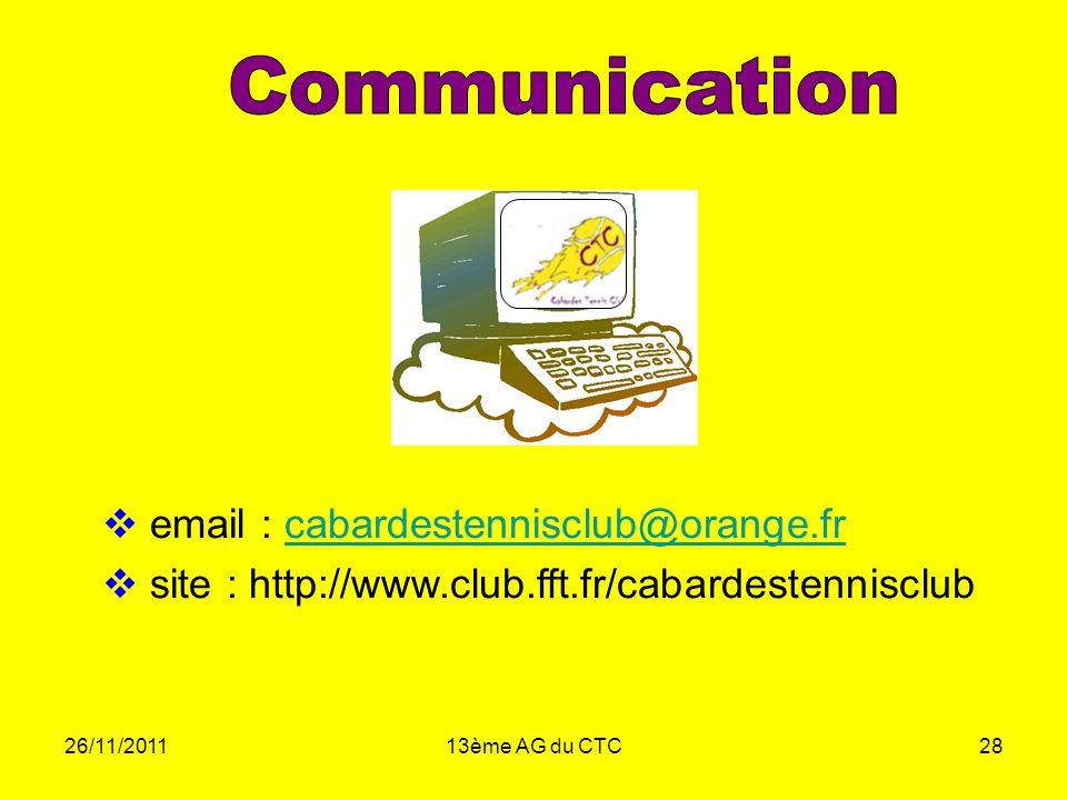 26/11/201113ème AG du CTC28 email : cabardestennisclub@orange.frcabardestennisclub@orange.fr site : http://www.club.fft.fr/cabardestennisclub