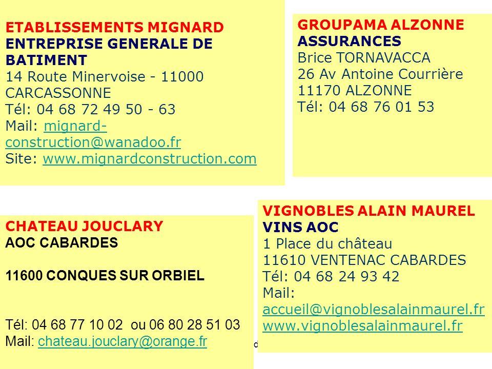 26/11/201113ème AG du CTC32 ETABLISSEMENTS MIGNARD ENTREPRISE GENERALE DE BATIMENT 14 Route Minervoise - 11000 CARCASSONNE Tél: 04 68 72 49 50 - Fax: