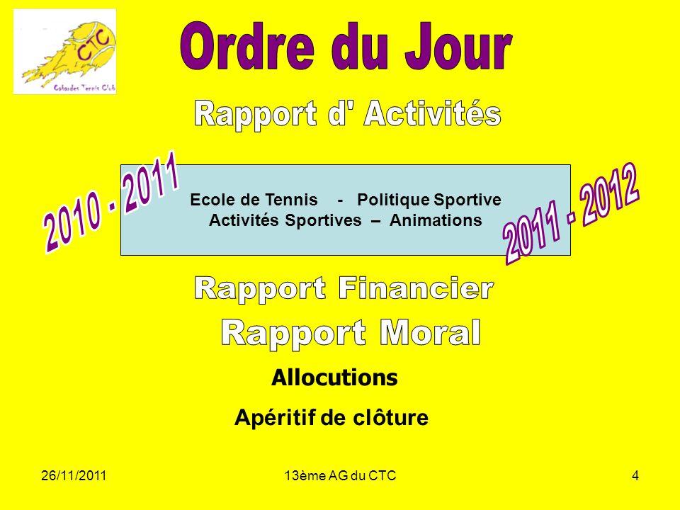 26/11/201113ème AG du CTC4 Allocutions Apéritif de clôture Ecole de Tennis - Politique Sportive Activités Sportives – Animations