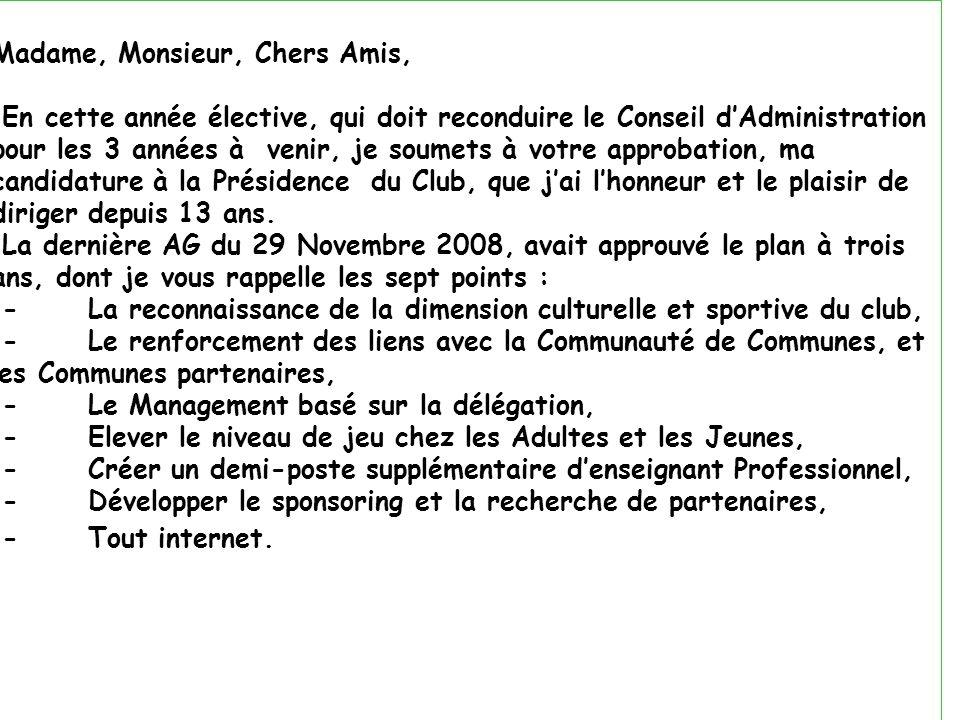 26/11/201113ème AG du CTC42 Madame, Monsieur, Chers Amis, En cette année élective, qui doit reconduire le Conseil dAdministration pour les 3 années à