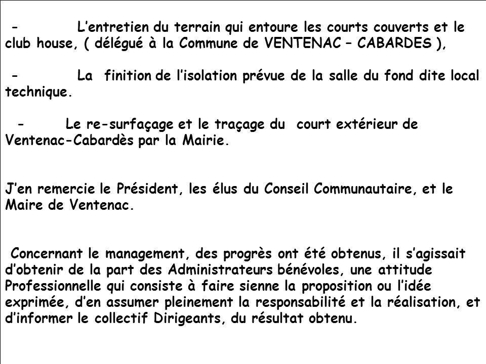 26/11/201113ème AG du CTC44 - Lentretien du terrain qui entoure les courts couverts et le club house, ( délégué à la Commune de VENTENAC – CABARDES ),