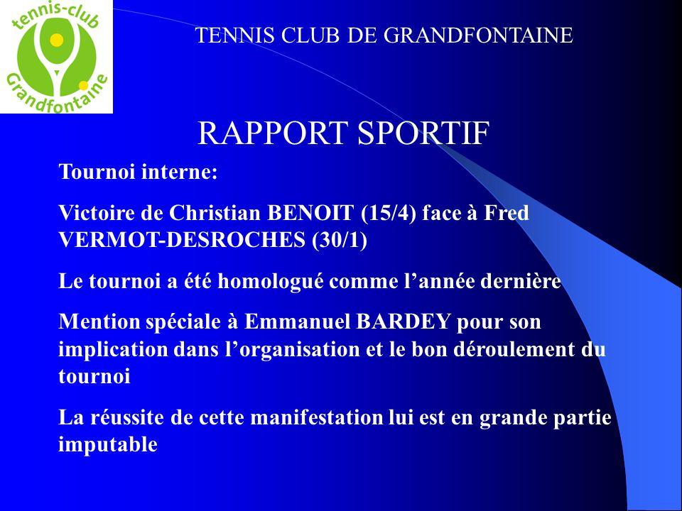 TENNIS CLUB DE GRANDFONTAINE RAPPORT SPORTIF Tournoi interne: Victoire de Christian BENOIT (15/4) face à Fred VERMOT-DESROCHES (30/1) Le tournoi a été