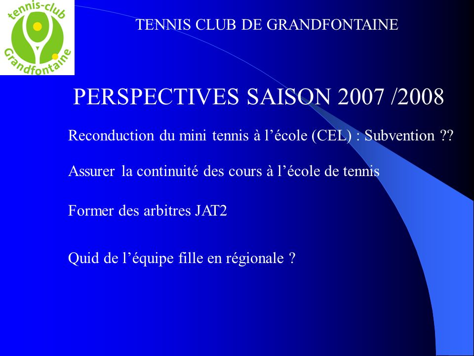 TENNIS CLUB DE GRANDFONTAINE PERSPECTIVES SAISON 2007 /2008 Reconduction du mini tennis à lécole (CEL) : Subvention ?? Assurer la continuité des cours