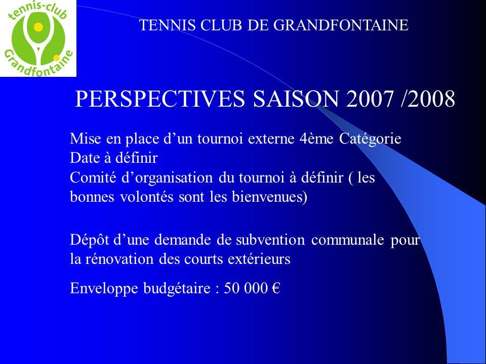 TENNIS CLUB DE GRANDFONTAINE PERSPECTIVES SAISON 2007 /2008 Mise en place dun tournoi externe 4ème Catégorie Date à définir Comité dorganisation du to