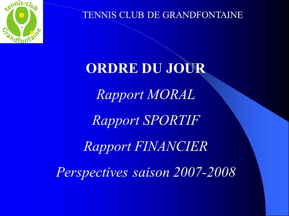 TENNIS CLUB DE GRANDFONTAINE ORDRE DU JOUR Rapport MORAL Rapport SPORTIF Rapport FINANCIER Perspectives saison 2007-2008