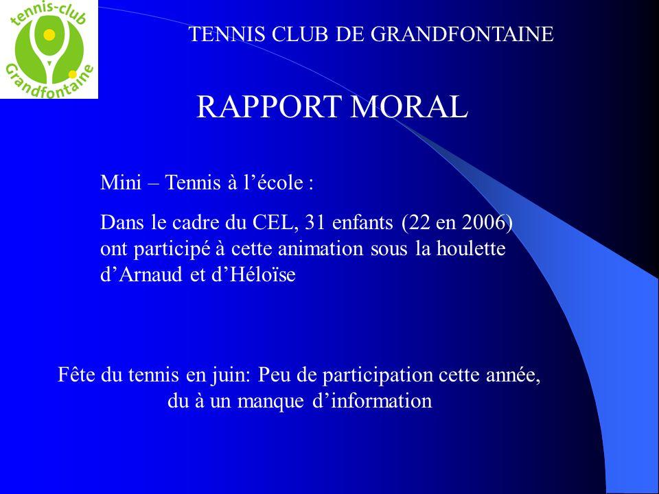 TENNIS CLUB DE GRANDFONTAINE Mini – Tennis à lécole : Dans le cadre du CEL, 31 enfants (22 en 2006) ont participé à cette animation sous la houlette d
