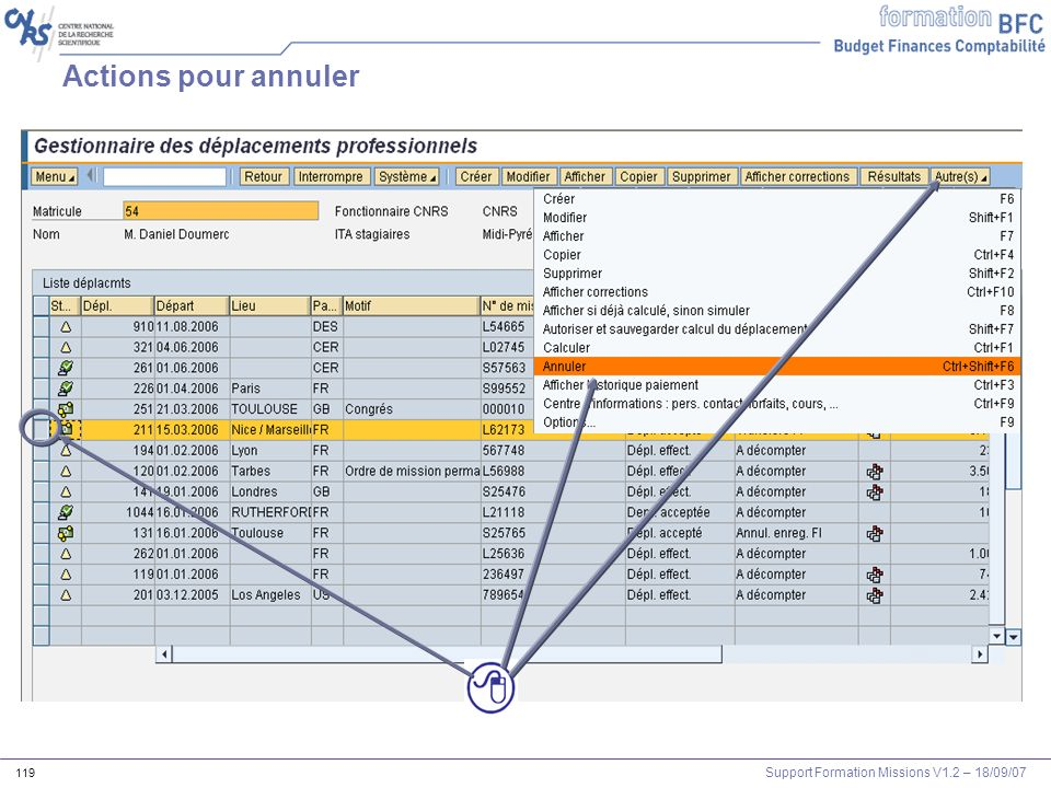 Support Formation Missions V1.2 – 18/09/07 120 Le statut dannulation Le statut de calcul « annul.