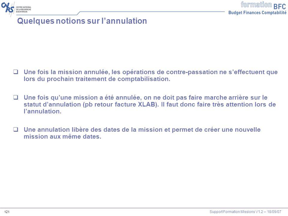 Support Formation Missions V1.2 – 18/09/07 121 Quelques notions sur lannulation Une fois la mission annulée, les opérations de contre-passation ne sef