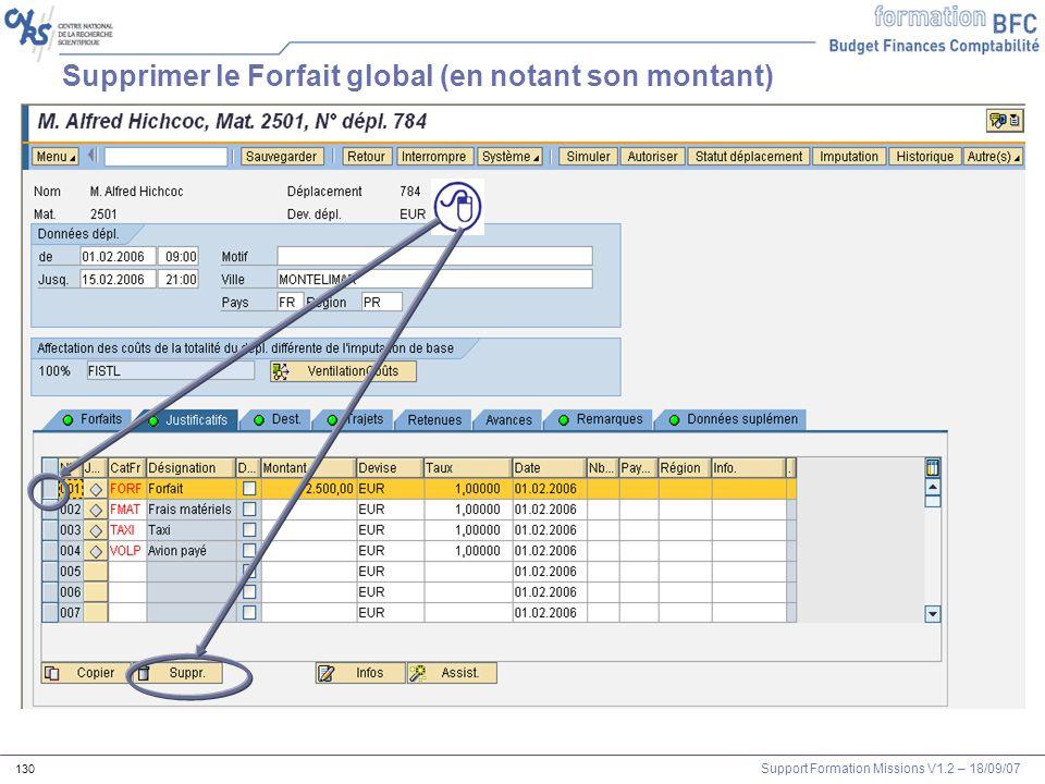 Support Formation Missions V1.2 – 18/09/07 130 Supprimer le Forfait global (en notant son montant)