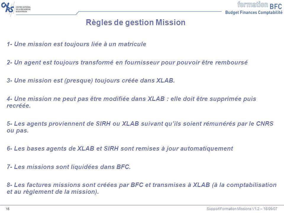 Support Formation Missions V1.2 – 18/09/07 15 Règles de gestion Mission 1- Une mission est toujours liée à un matricule 2- Un agent est toujours trans