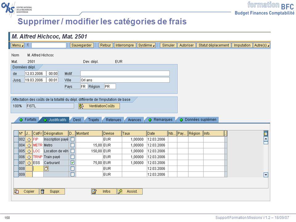 Support Formation Missions V1.2 – 18/09/07 158 Supprimer / modifier les catégories de frais