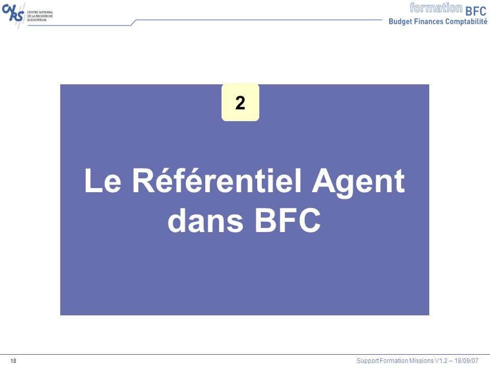 Support Formation Missions V1.2 – 18/09/07 18 Le Référentiel Agent dans BFC 2