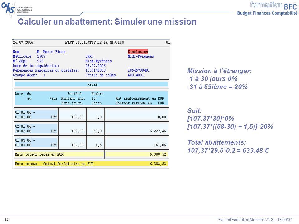 Support Formation Missions V1.2 – 18/09/07 181 Calculer un abattement: Simuler une mission Mission à létranger: -1 à 30 jours 0% -31 à 59ième = 20% So