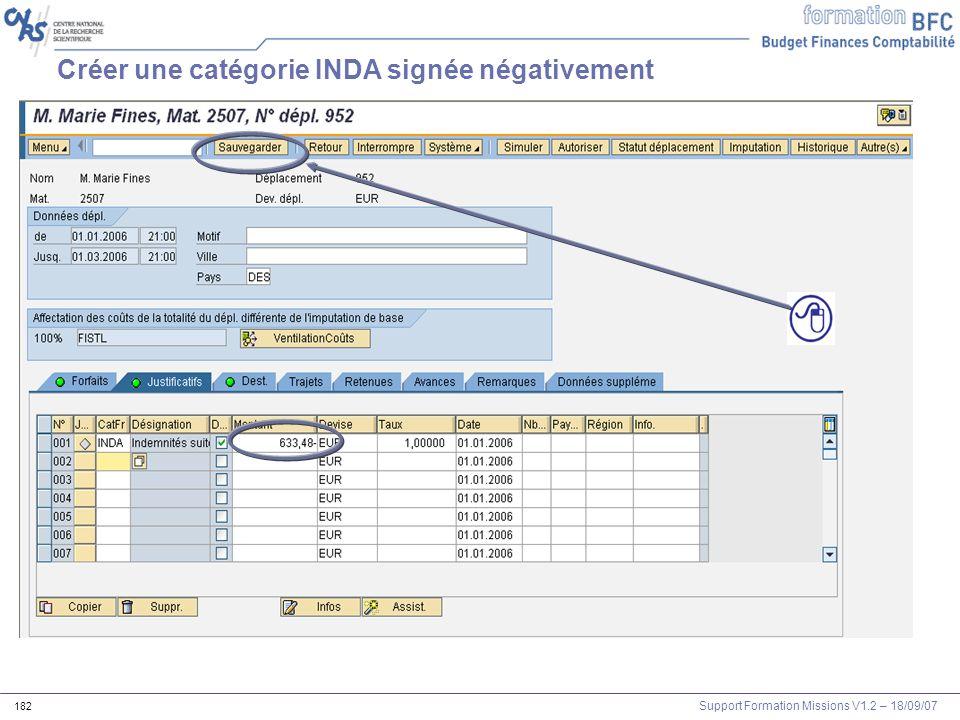 Support Formation Missions V1.2 – 18/09/07 182 Créer une catégorie INDA signée négativement