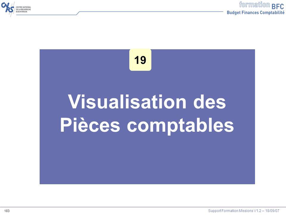 Support Formation Missions V1.2 – 18/09/07 183 Visualisation des Pièces comptables 19