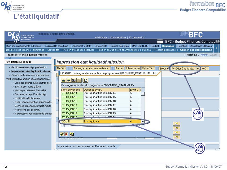 Support Formation Missions V1.2 – 18/09/07 195 Létat liquidatif