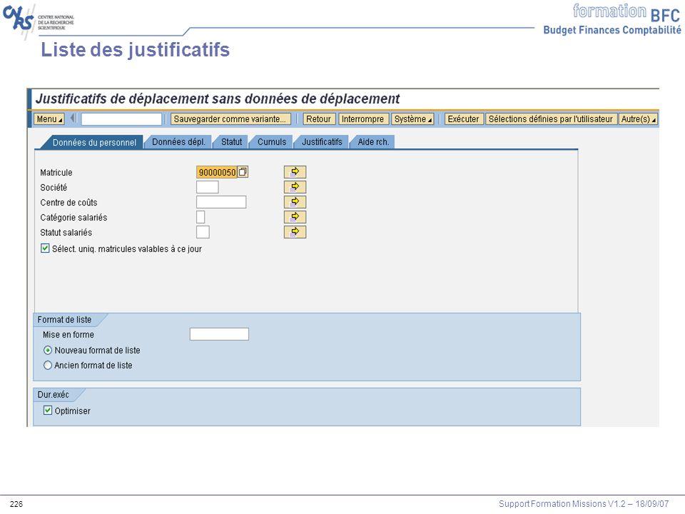 Support Formation Missions V1.2 – 18/09/07 226 Liste des justificatifs