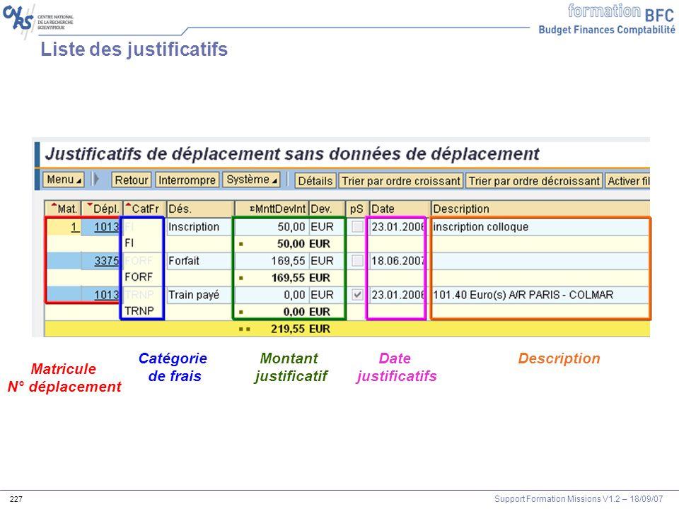 Support Formation Missions V1.2 – 18/09/07 227 Liste des justificatifs Matricule N° déplacement Catégorie de frais Montant justificatif Date justifica