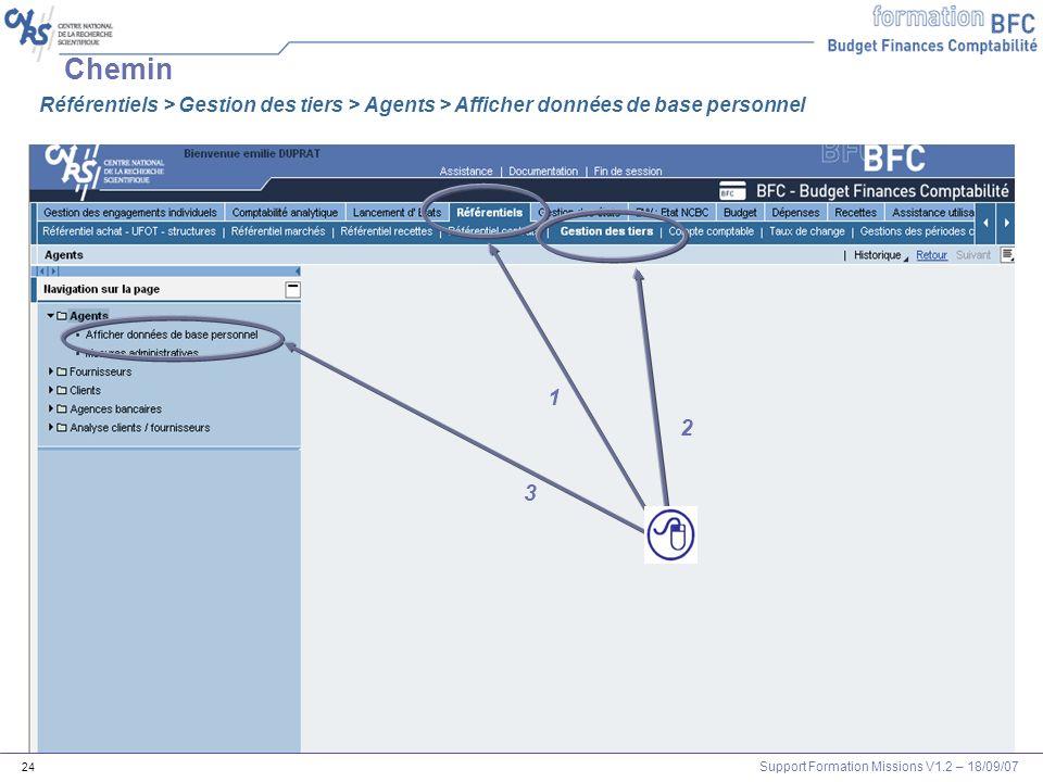 Support Formation Missions V1.2 – 18/09/07 24 Chemin 1 2 3 Référentiels > Gestion des tiers > Agents > Afficher données de base personnel