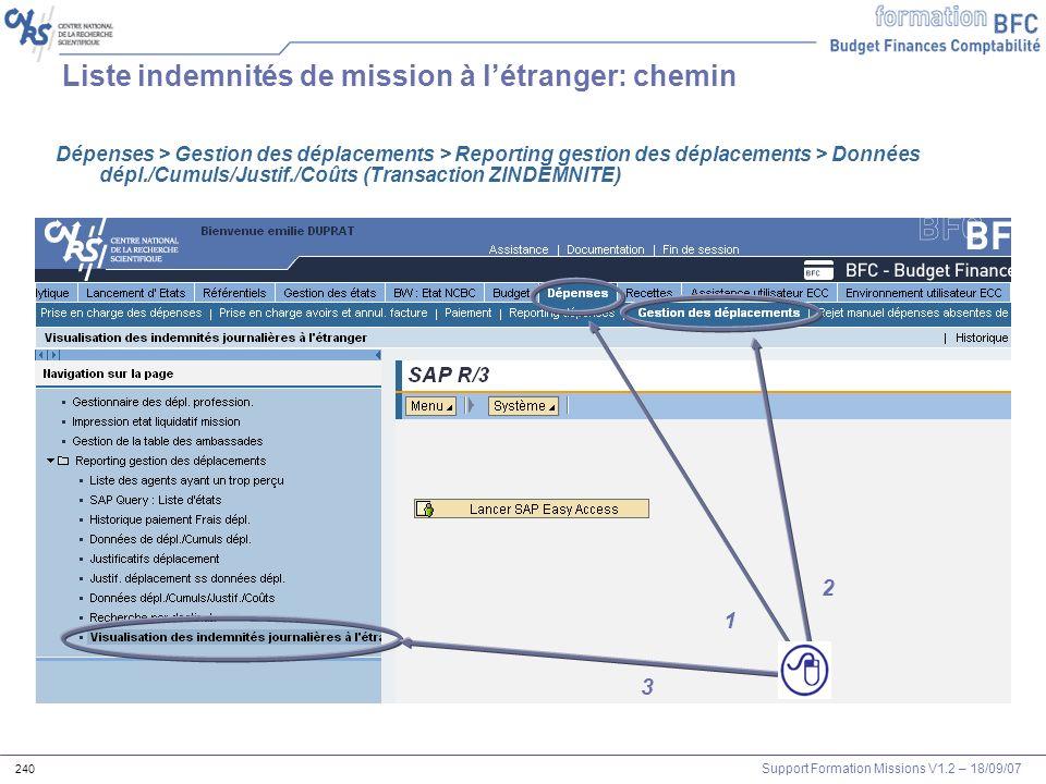Support Formation Missions V1.2 – 18/09/07 240 3 1 2 Liste indemnités de mission à létranger: chemin Dépenses > Gestion des déplacements > Reporting g
