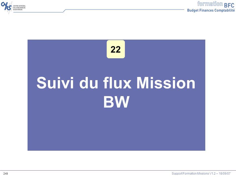 Support Formation Missions V1.2 – 18/09/07 249 Suivi du flux Mission BW 22