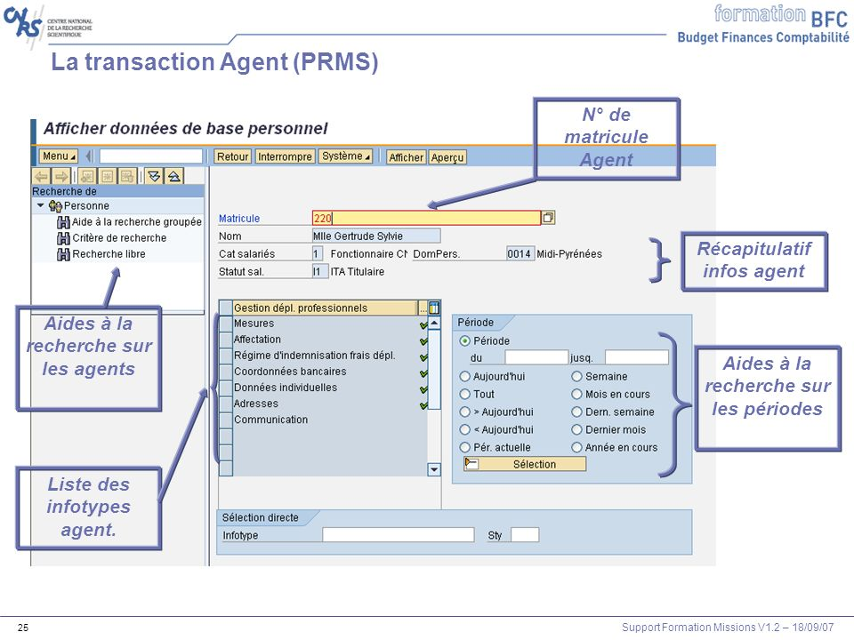 Support Formation Missions V1.2 – 18/09/07 25 Liste des infotypes agent. Aides à la recherche sur les agents N° de matricule Agent La transaction Agen