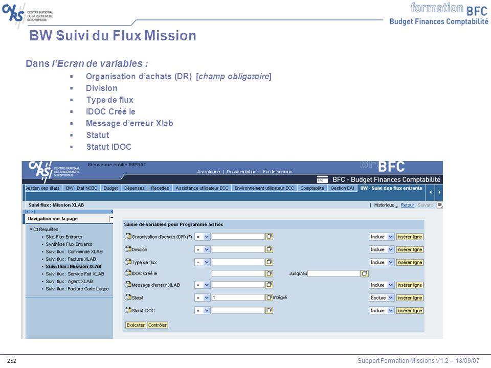 Support Formation Missions V1.2 – 18/09/07 252 BW Suivi du Flux Mission Dans lEcran de variables : Organisation dachats (DR) [champ obligatoire] Divis