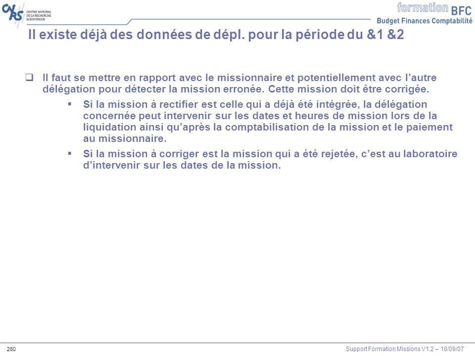 Support Formation Missions V1.2 – 18/09/07 260 Il faut se mettre en rapport avec le missionnaire et potentiellement avec lautre délégation pour détect