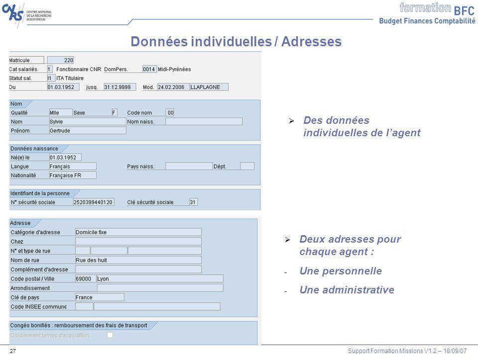 Support Formation Missions V1.2 – 18/09/07 27 Données individuelles / Adresses Des données individuelles de lagent Deux adresses pour chaque agent : -