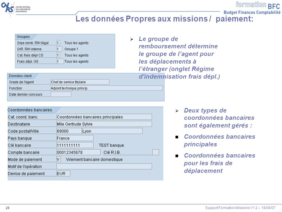 Support Formation Missions V1.2 – 18/09/07 29 Exercice: Visualisation dun agent 3