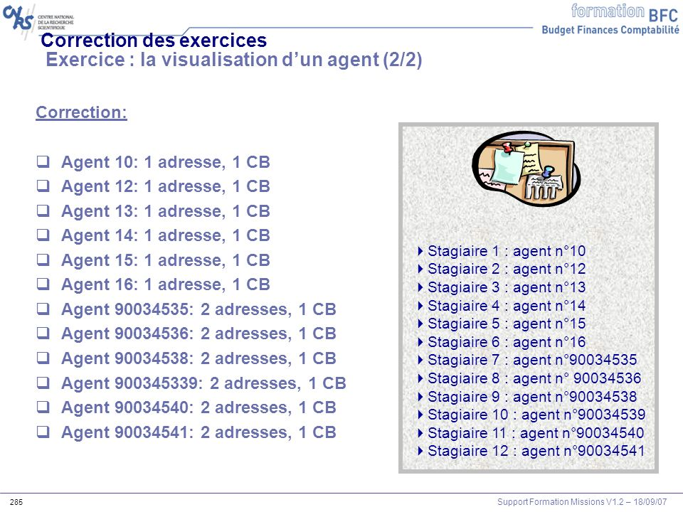 Support Formation Missions V1.2 – 18/09/07 285 Correction des exercices Exercice : la visualisation dun agent (2/2) Correction: Agent 10: 1 adresse, 1