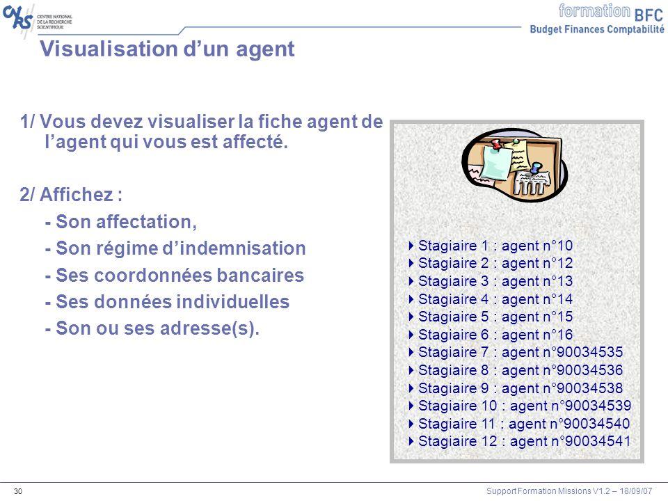 Support Formation Missions V1.2 – 18/09/07 30 Visualisation dun agent 1/ Vous devez visualiser la fiche agent de lagent qui vous est affecté. 2/ Affic