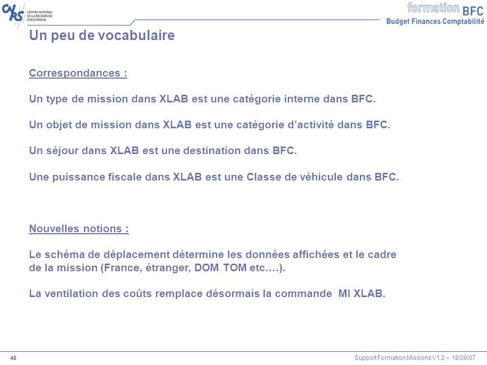 Support Formation Missions V1.2 – 18/09/07 49 Un peu de vocabulaire Correspondances : Un type de mission dans XLAB est une catégorie interne dans BFC.