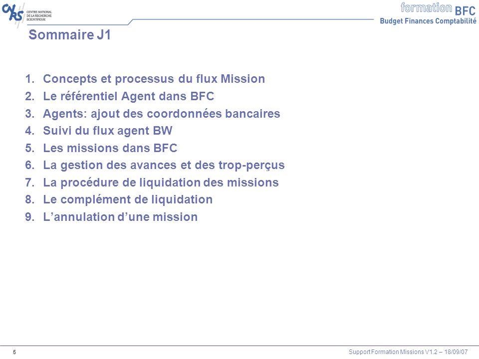 Support Formation Missions V1.2 – 18/09/07 5 Sommaire J1 1.Concepts et processus du flux Mission 2.Le référentiel Agent dans BFC 3.Agents: ajout des c