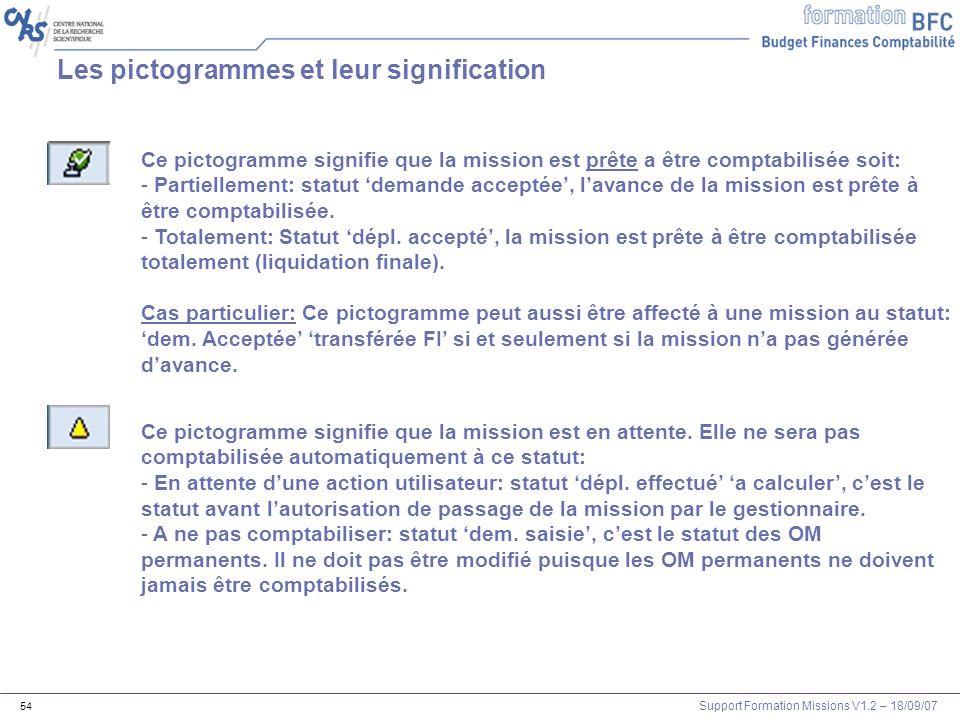 Support Formation Missions V1.2 – 18/09/07 54 Les pictogrammes et leur signification Ce pictogramme signifie que la mission est prête a être comptabil