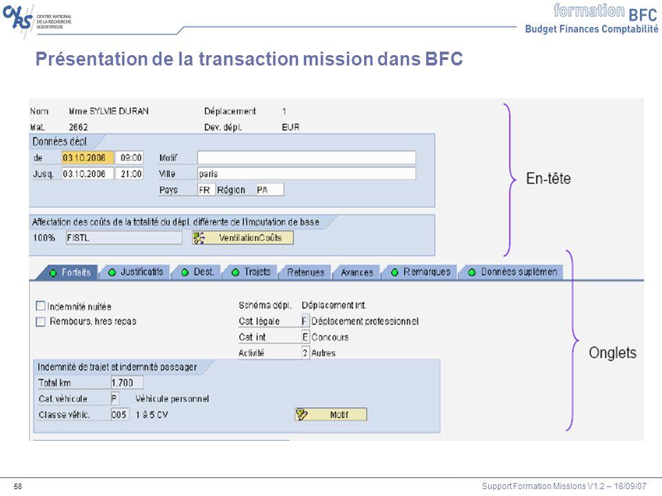 Support Formation Missions V1.2 – 18/09/07 58 Présentation de la transaction mission dans BFC